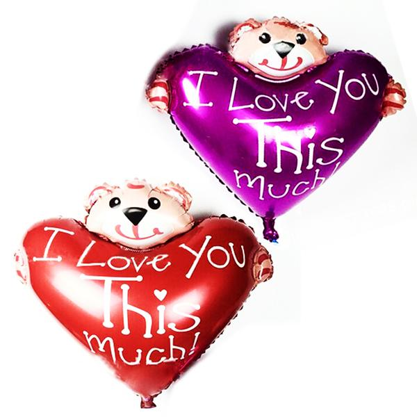 Free Shipping New Mini Bear heart Bear Foil Balloon Aluminum Balloons Valentines Day Party Decoration Balloon Wholesale Baby