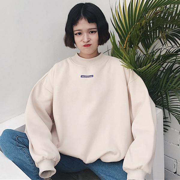 2019 From Sweatshirts Korean Bf Patch Sweatshirt Womens Long Pullover Hongyeli Autumn Hoodies Ulzzang Harajuku 2017 Velvet Mujer Style Sudadera kOXZuiP