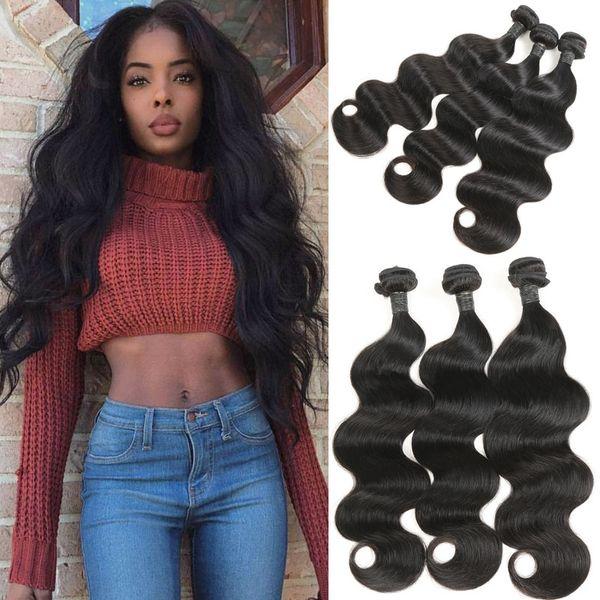 Human Hair Extensions Unprocessed Brazilian Remy Virgin Human Hair Body Wave 3 bundles for Medium-Length Hairstyles 300g/lot