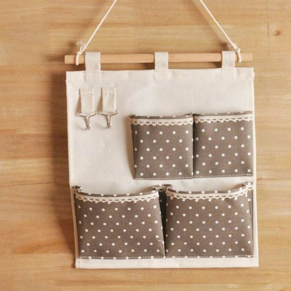 1 Pcs Dot Striped Waterproof Hanging Storage Bags Cotton Linen Door Wall Mounted Jewelry Clothing Organizer Pouch Bag Home Decor