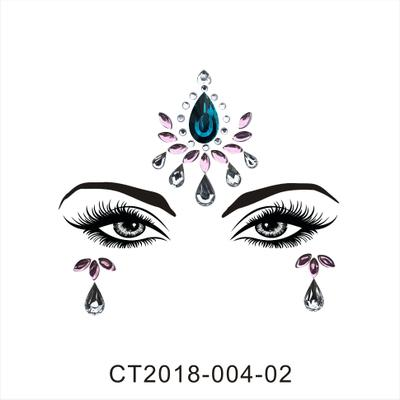 Women Crystal Sticker for Party Christmas Eyebrow Decor Face Eyes Sparkling Gems 3D Jewel Body Art Stage Makeup Decoration Temporary Tattoo