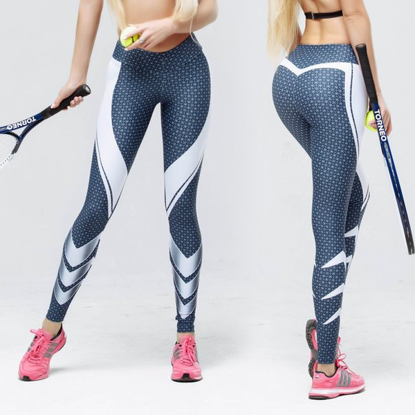 Fashion Blue Leggings Dot und Linie gedruckt Frauen Fitness Leggings hohe elastische Patchwork Print Skinny Sporting Dry Quick Pants