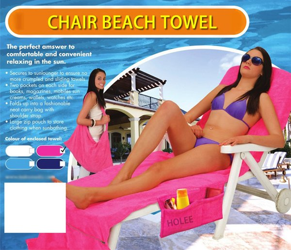 10 Colors Microfiber Beach Chair Cover Lounge Chair Cover Blankets Portable With Strap Beach Towels Double Layer Thick Blanket