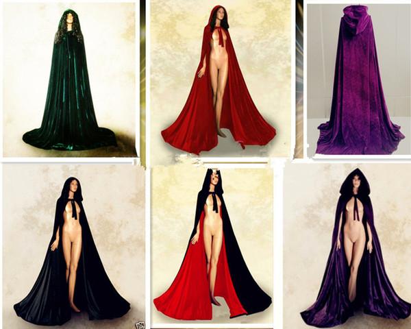 Burgundy Long Velvet Christmas Hooded Cloak Bridal Cloaks Capes Winter Halloween Floor Length Jacket Wedding Bridesmaid Wraps