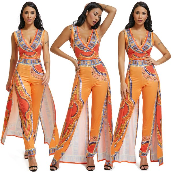 best selling African Ethnic Print Women Jumpsuit Romper Orange Wrap Deep V Neck Sleeveless Long Wide Leg Club Party Jumpsuits Rompers