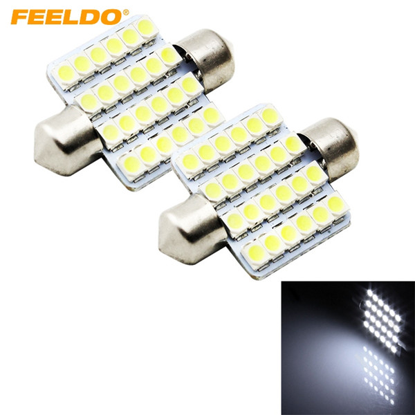 FEELDO 10 ADET Beyaz Araba 41mm 1210/3528 24SMD 1 W İç Oto Festoon Dome Okuma LED Lamba Ampul # 1503