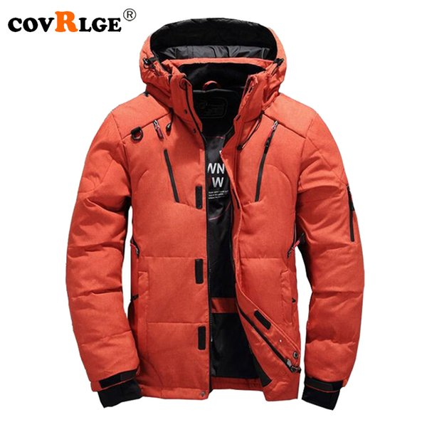 Covrlge Winter Jacket for Men 2018 New Solid Men's Down Jackets Thicker Warm Male Outerwear Fashion Jacket Coat with Hood MWY008