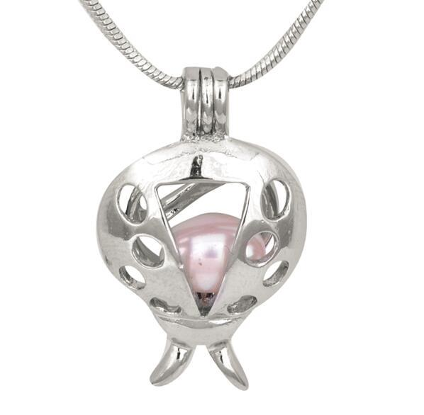 Unique Lovely Silver Plated Ladybug Pearl Cage Pendants Charms Locket DIY Pearl Mountings Fashion Jewelry Wholesale P105