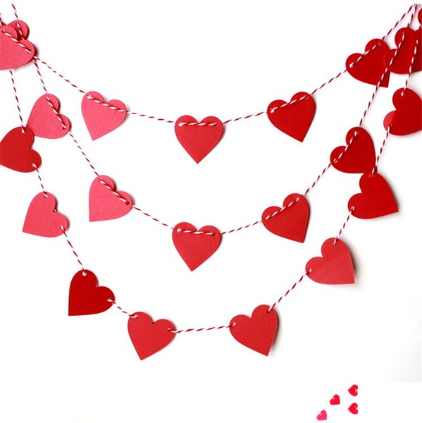 1m Sweat Heart Paper Garland Love Shape Hanging Ornament Wreaths Curtain Decor Wedding Bedroom Party Home Decoration