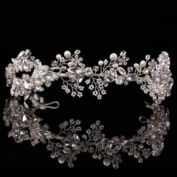 High Quality Exquisite Hair Jewelry Pearl Crystal Wedding Headband Tiara Jewelry Gold/Silver HeadPiece Bride Hair Accessories X912