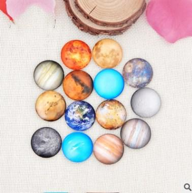 50pcs 2018 HOT selling Nine planets galss Snap button Charm Popper for Snap Jewelry picture pendant