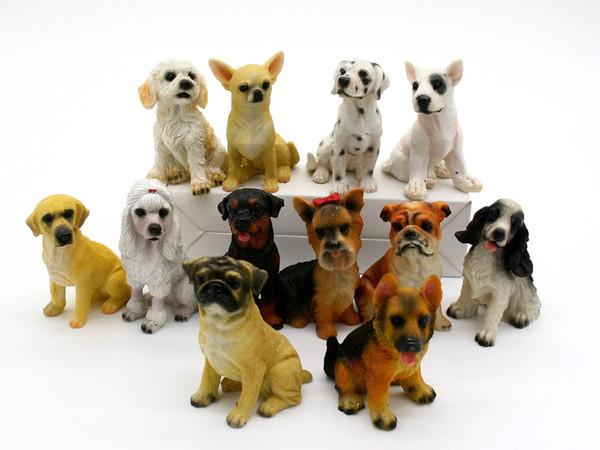 Regalos 12pcs Resina Mini Figurita Inicio Jardín miniaturas Hada del jardín ornamento de las decoraciones Chihuahua Shar Pei dálmata juguetes para perros
