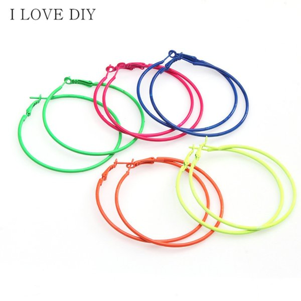 whole sale5Pairs/lot Fashion Candy Colored Metal Hoop Charm Basketball Wives Earrings For DIY Earrings Making