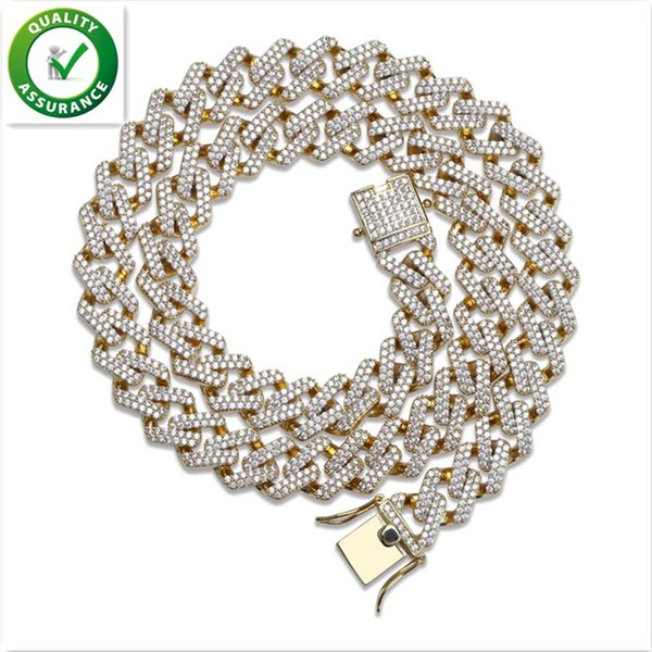Iced Out Chains Hip Hop Jewelry Designer Necklace Miami Cuban Link Micro Paved CZ Diamond Stone Gold Chain Mens Luxury Wedding Accessories