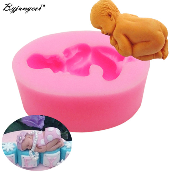 Byjunyeor 3D Cute Baby Silicone Molds for Cake Sugar Candy Mold DIY Design Fondant Decorating Tools 7.5*4.7CM