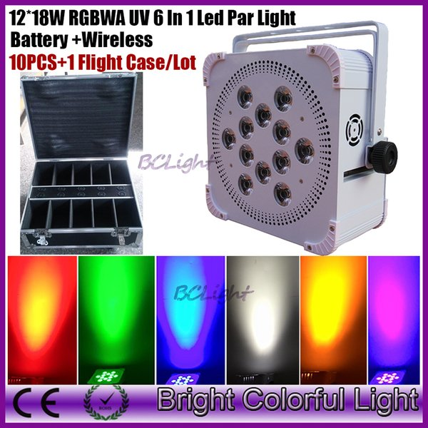 Charging Flight Case 10in1 Packing 10XLOT 12*18W Battery Powered Wireless Led Par Light RGBWA UV Purple 6in1 Color DMX uplight
