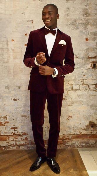 2018 Latest Coat Pant Designs Burgundy Velvet Formal Custom Wedding Suits For Men Bridegroom Slim Fit Jacket Tuxedo (Jackets+Pants+Bow)