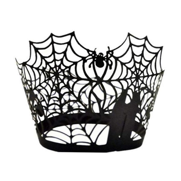 50pcs/set Halloween Decoration Paper Cupcake Wrapper Spider Web Cupcake Toppers Kids Favors Party Cake Topper Halloween FES9135