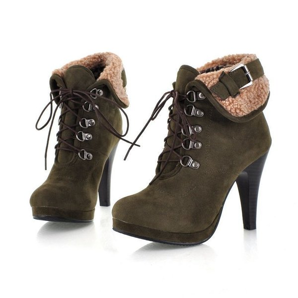 Elegant Style Suede Ankle Boots For Women Platforms High Heels Lace Up Buckle Thin Heel Short Martin Boot Ladies BX871