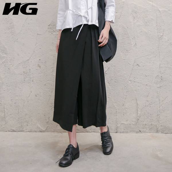 [hg] 2018 new arrival hong kong summer casual women solid color pleated a-line skirts female loose mid-calf skirts kzh1862