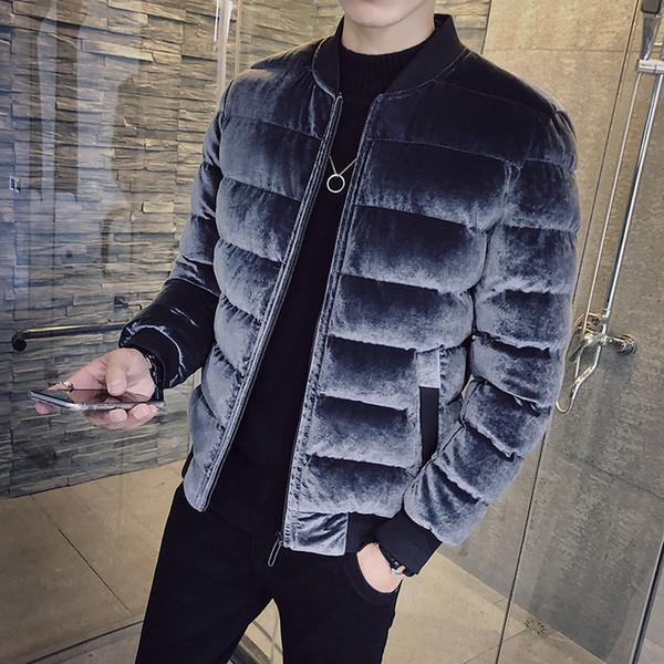 Gold Samt Baumwolle Kleidung Herrenjacke Winter 2018 neue koreanische Version des Trends Persönlichkeit plus Samt dicke Baumwolljacke