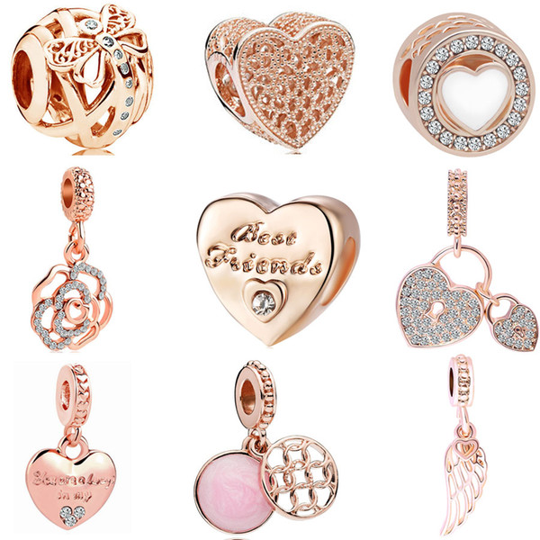 best selling 2018 new free shipping european 1pc rose gold dragonfly heart flower lock wing friends diy bead fit pandora charm bracelet D037