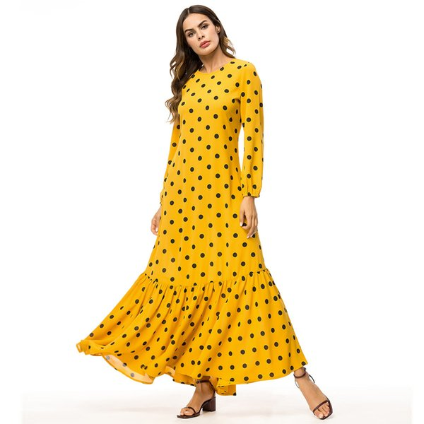 Women Yellow Dresses Plus Size 4XL Long Sleeve Polka Dot Printed Casual  Abaya Muslim Turkish Mermaid Long Maxi Dress Party Dress Blue Dresses From  ...