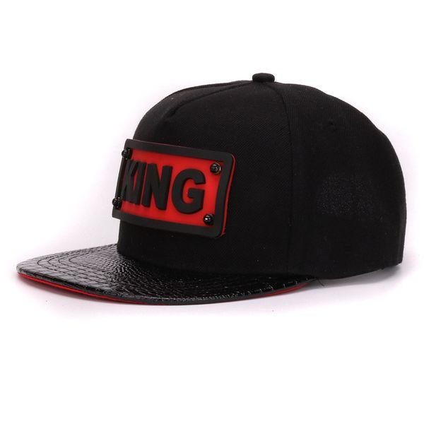 HATLANDER adult pu alligator leather flat bill hip hop hats 3D KING soft silicone adult snapback hats for boys and girls