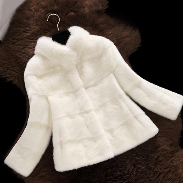 2018 New Arrival Women Winter Short Hair Faux Fur Coat Long Sleeve Solid Color Blue White Pink Plus 2XL Ladies Outerwear Q4782