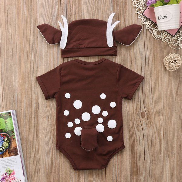 Pudcoco Deer Baby Clothes Infant Baby Boy Girl Cartoon Deer Romper+long ear hat Christmas baby clothes xmas Costume for new year Y18102907