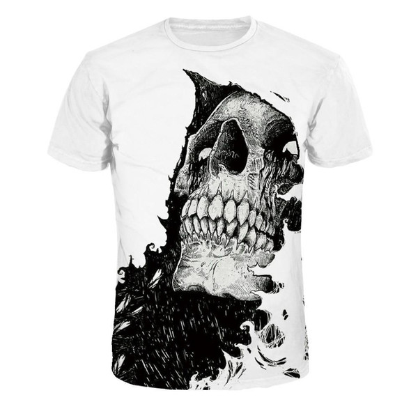 2018 Compression Shirts Men 3D Printed T-shirts Short Sleeve Cosplay Fitness Body Building Male Crossfit Tops Punk Skull Skeleton