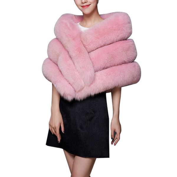Winter Faux Fur Coat Bolero Bridal Shawl Women Warm Hairy Fur Cape Jackets Prom Wrap Shrug Female Abrigo Mujer A4
