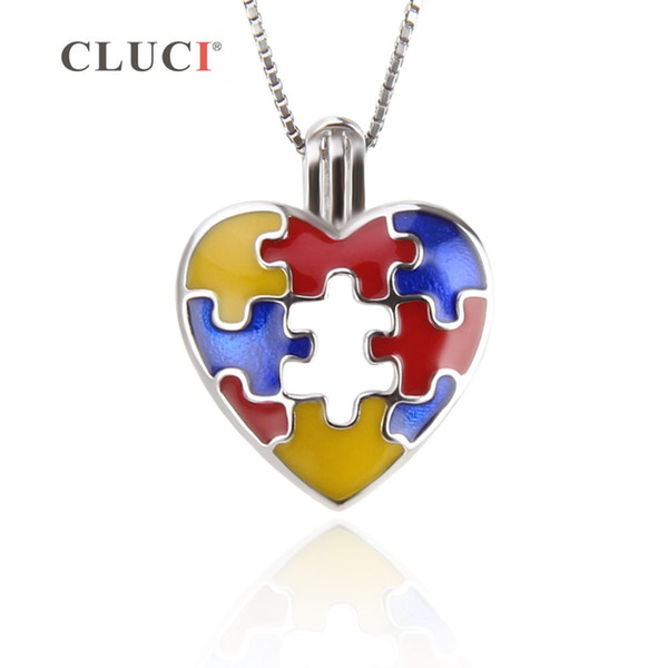CLUCI 3PCS 925 sterling silver Autism Awareness Necklace Pendants to hold pearl Puzzle Piece Jigsaw Hope Ribbon Charm DIY S18101607