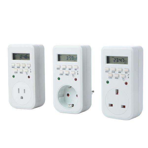 220V 50Hz 16A 3600W UE EE. UU. Reino Unido Enchufe Interruptor de temporizador LCD digital Temporizador de energía Ahorro de energía Programable Interruptor de tiempo Relé