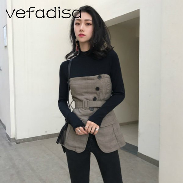 Vefadisa Patchwork Shirt for Women Casual Top Tees Long Sleeve Fake Two Piece Shirt Turtleneck Vintage with Belt AD313