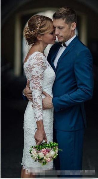 Summer 2017 Short Wedding Dresses Knee Length Simple White Ivory Short Sheath Wedding Dresses Bridal Gowns