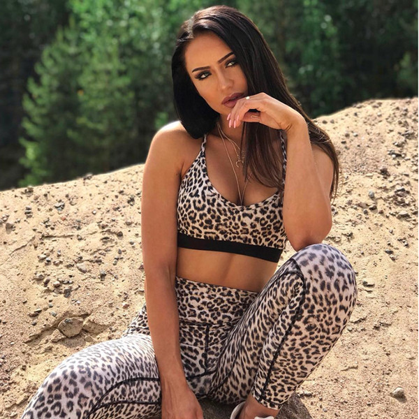 Women Yoga Set Leopard Print Sportswear Fitness Gym Wear Running Clothing Sport Suit Sexy Trakcsuit Sport Crop Tank Top Leggings