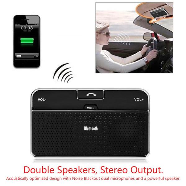 Receptor de música Cargador para automóvil Bluetooth inalámbrico 4.0 Altavoz para automóvil Visera solar Dúplex completo Rendimiento Ultra bajo poder
