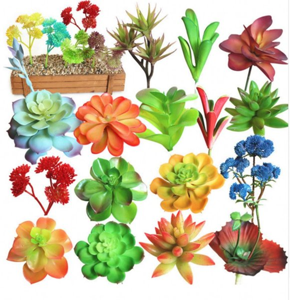 20 adet Tiny Yapay Etli Bitkiler Lotus Peyzaj Çiçek Çeşitli Dekoratif Mini Yeşil Bitkiler Ev Bahçe Aranjmanı Dekor