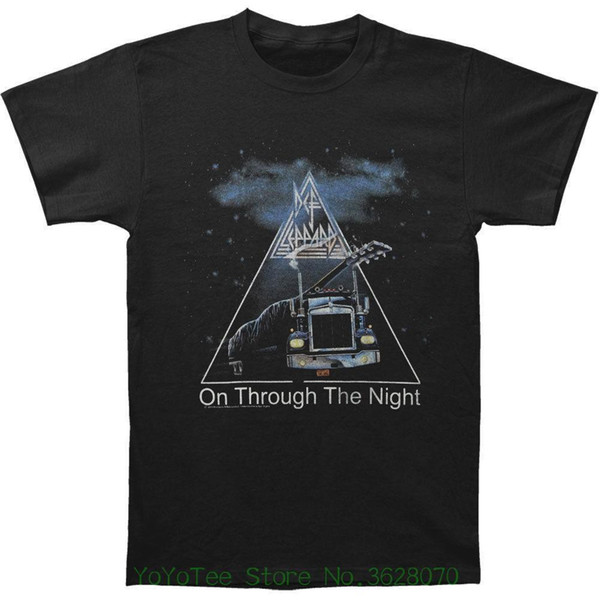 T Shirt Funny T-shirt Men Def Leppard Men' ; S On Through The Night Slim Fit T-shirt Black