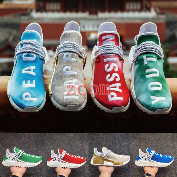 2018 Pharrell Williams Human Race Hu Trail Holi Mens Running Shoes Peace Passion Happy Youth Heart Human Races Trainers Zapatos Sneakers