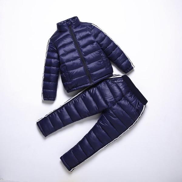 BINIDUCKLING Erkek Kız Spor Seti Çocuk Sıcak Ceket Aşağı Ceket + Pantolon Ceket Kayak Takım Erkek Çocuk Kış Giysileri Için