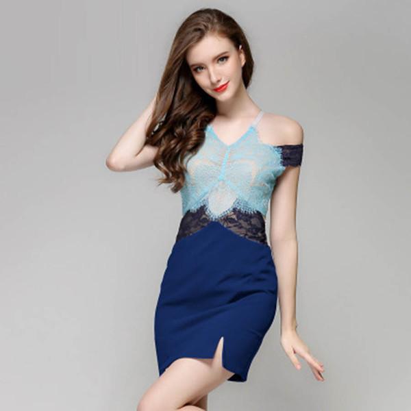 Verão Sexy Mini Vestido de Estilo Coréia Luxo Azul Vestidos de Noite Sem Mangas Curto Novo Laço Azul Vestidos de Baile Vestidos Macacões para a Noite