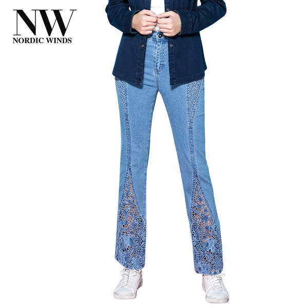 Nordic Winds Large Size Embroidery Jeans Women Pants Floral Ladies Elegant Casual Trousers Women's Hollow Out Jeans 2018 Trendy