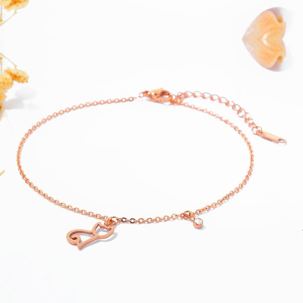 Women's anklet cute hollow titanium steel rose gold color rhinestones foot chain holiday gift