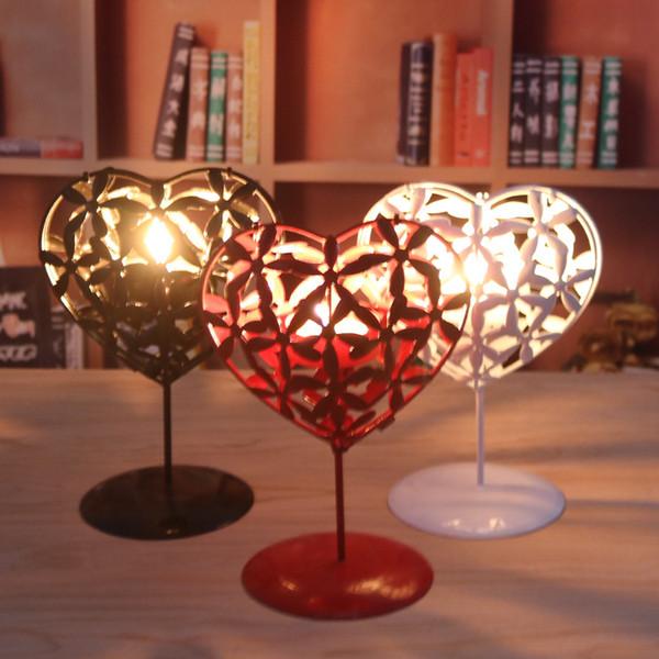 Metal Heart Shape Candle Holder Home Decor Bar Iron Candlestick Festival Candleholder Hollow Heart Tools Kitchen Accessories