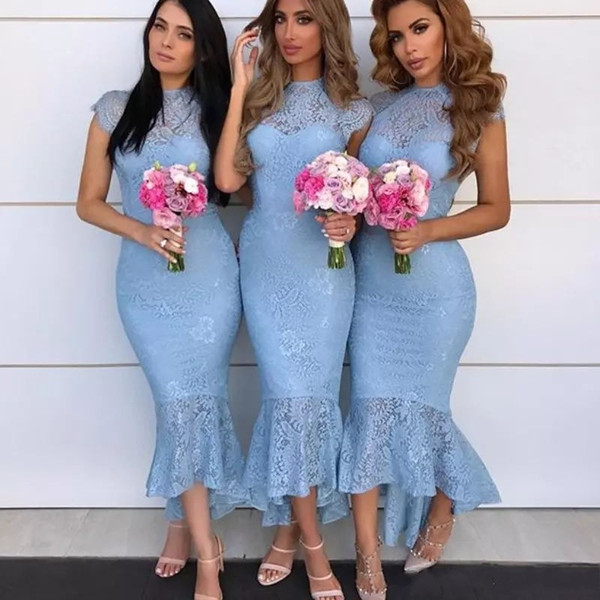 Fashion Sky Blue Bridesmaids Dresse High Neck Cap Sleeve Lace Ankle Length Bridesmaid Dress Sexy Mermaid Party Gown 2018 Prom Dressses