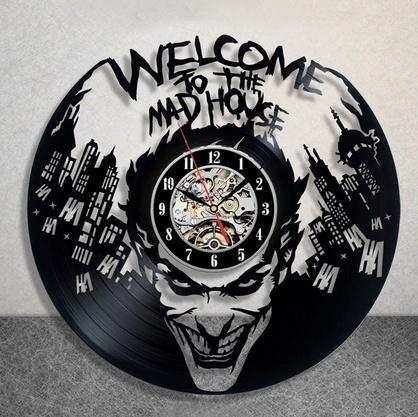 Le Joker Disque Vinyle Horloge Murale Harley Quinn Dc Comics Horloge Mur Art Décor À La Maison (Taille: 12 pouces Couleur: Noir)