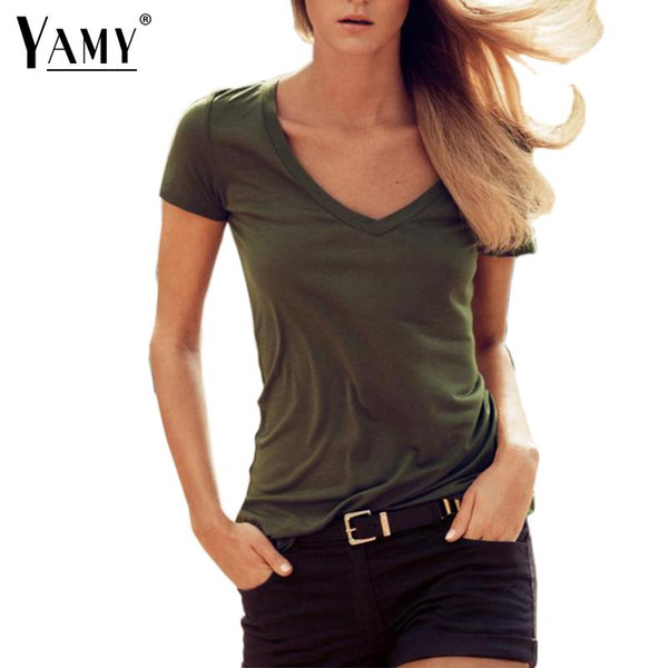 2016 fashion summer ladies office t shirt women tops army green v neck cotton casual t-shirt tshirts plus size women clothing