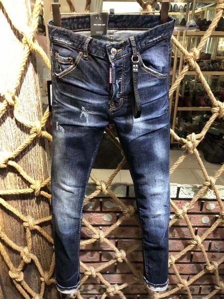 Nuovi uomini jeans da moto degli uomini di marca Retro Jeans diritti sottili diritti per gli uomini pantaloni casual # 0253 D2 Hip Hop Fori pantaloni denim